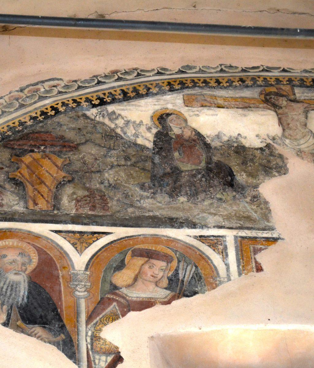 Un dettaglio dell'affresco in San Sebastiano